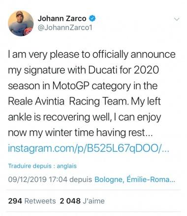 Tweet officiel Zarco signature Ducati