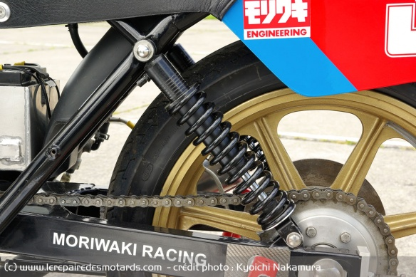 Moriwaki modified shock absorbers are longer and more sloping than originally
