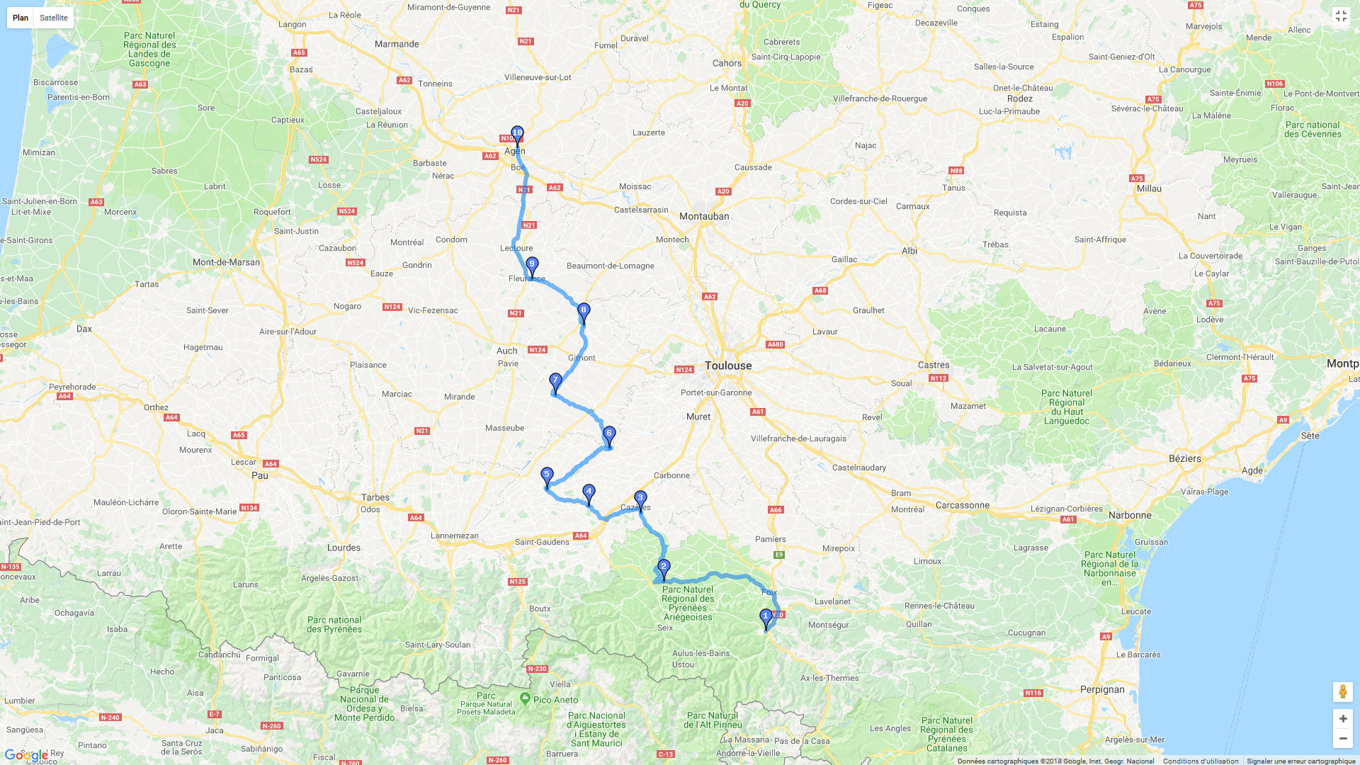 Carte roadbook Tarascon - Agen