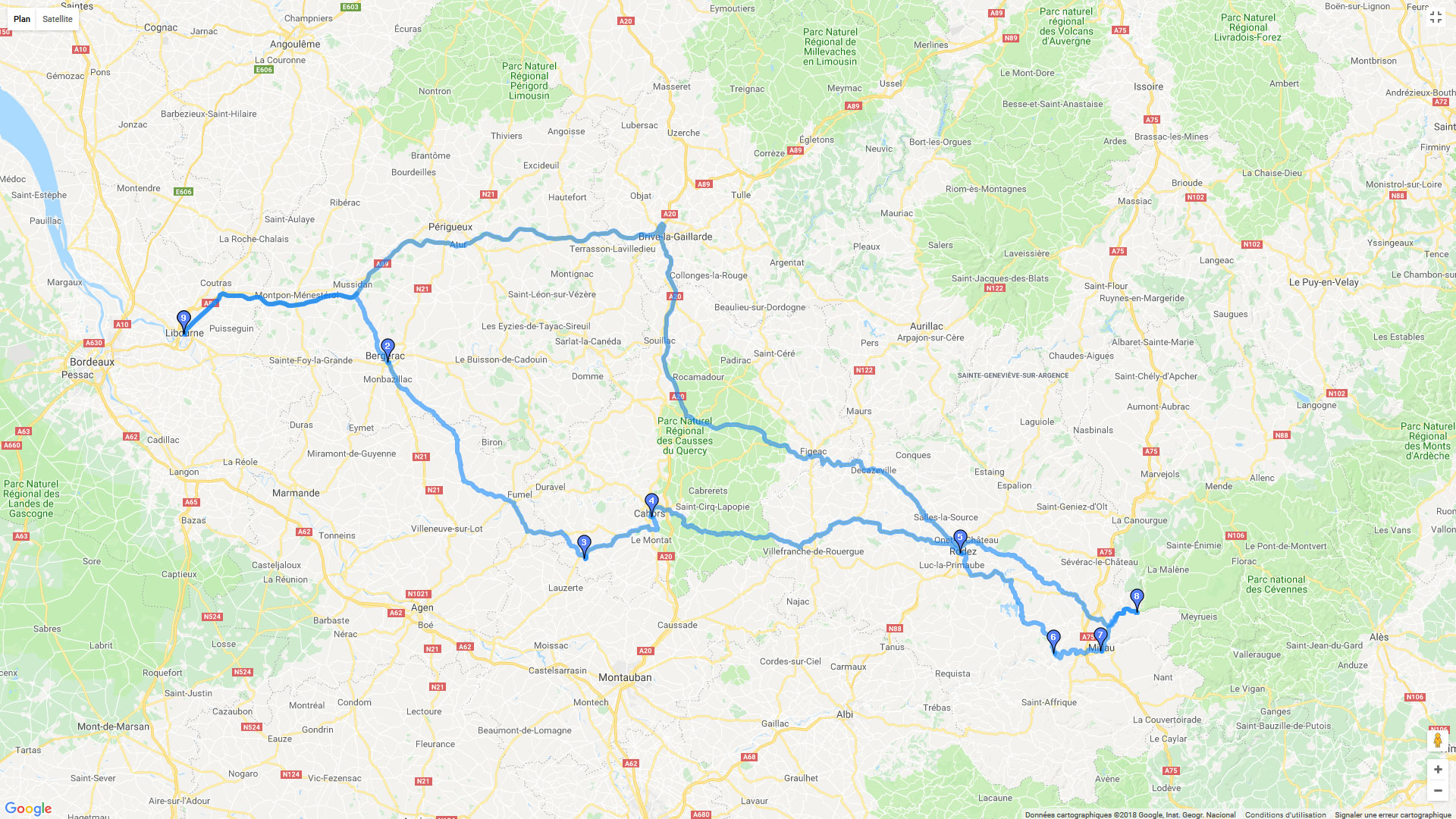 Carte roadbook A travers les Causses